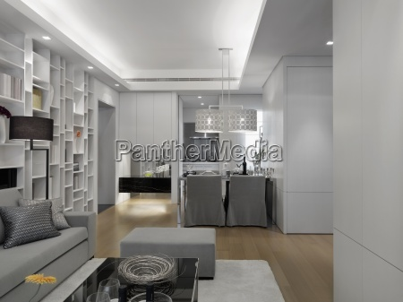 modern interior with silver furniture
