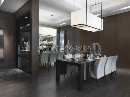 dining table in modern dining room