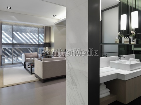 view in living and bathroom in