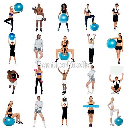 koncepcja kolazu zdrowia cwiczenia i pobyt