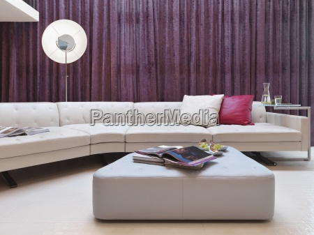 large white leather sofa in modern
