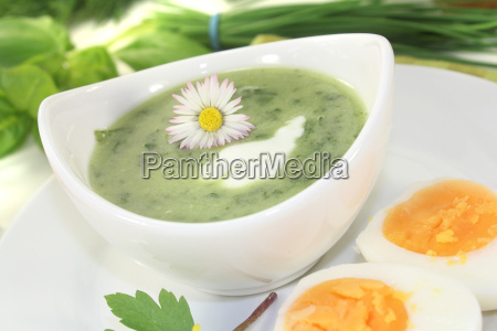 herb soup with eggs