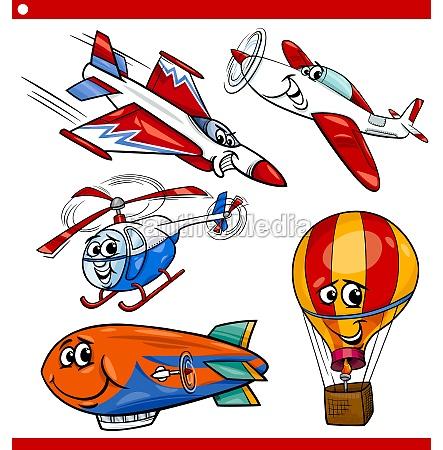 zestaw smieszne kreskowki pojazdow powietrznych