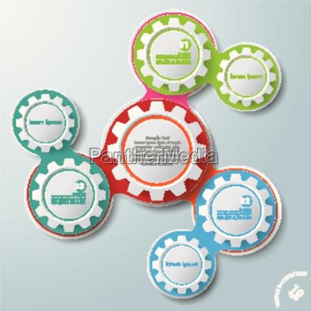infographic design colored chains white circles