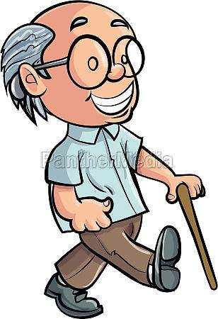 cartoon dziadek chodzenie z kijem