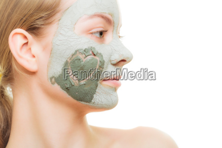 skin care woman in clay mud