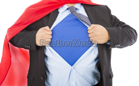 businessman pulling his t shirt open