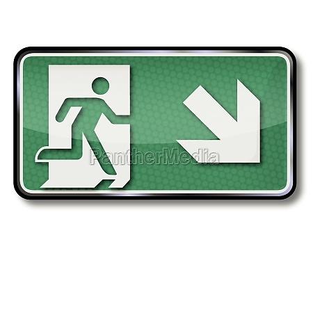 znaki ratunkowe z trasa ratunkowa i