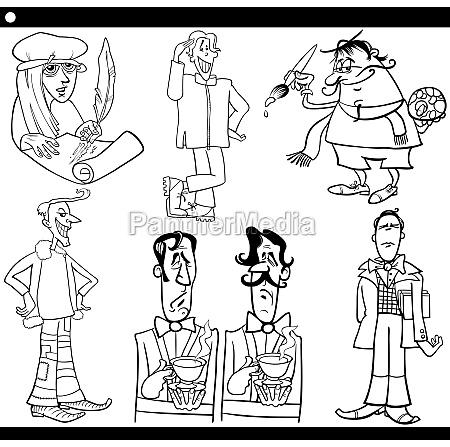 ilustracja kreskowka mezczyzni zestaw znakow