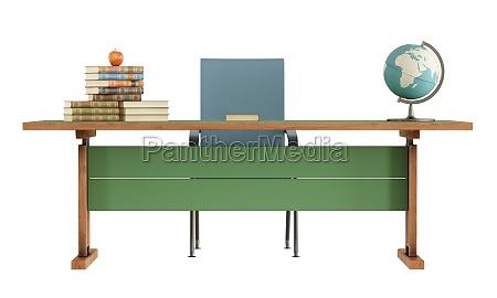 biurko nauczyciel retro na bialym