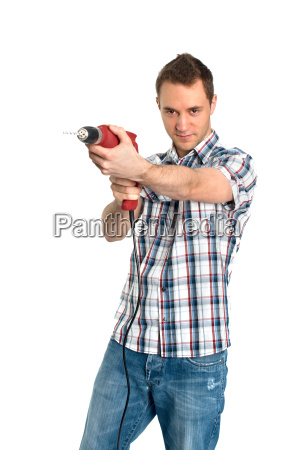 young man with drill