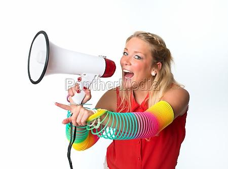 woman communication demo apprentice demonstration megaphone