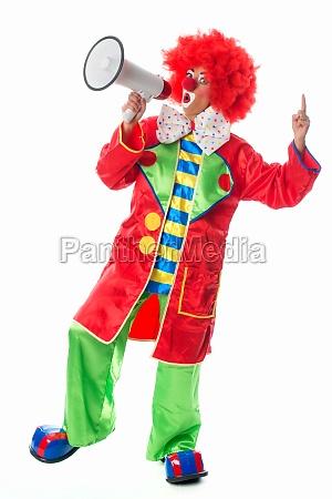 clown with megaphone
