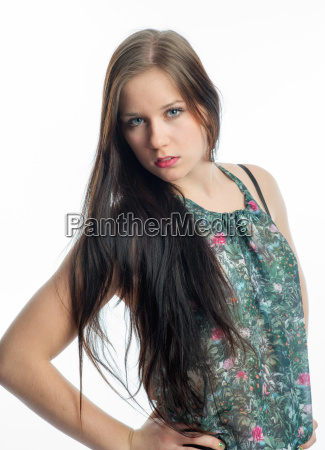 young woman in summer shirt
