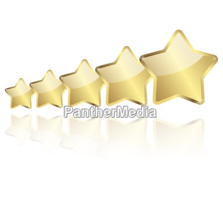 5 zlotych gwiazd z odbiciem w