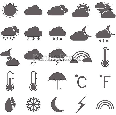 pogoda ikony na bialym tle