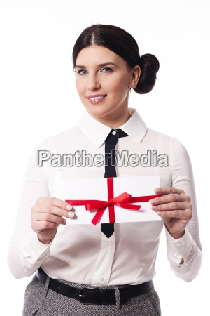 smiling woman giving a business card