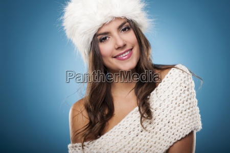 portrait of beautiful smiling winter woman