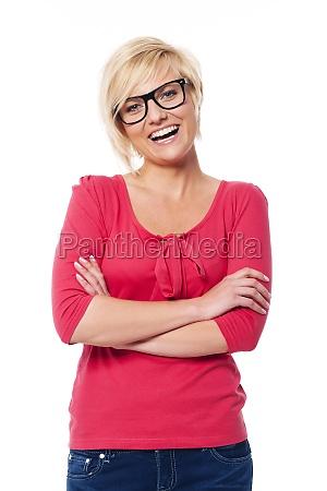 portret, szczęśliwy, kobieta, ubrana, w, okularach - 12112216