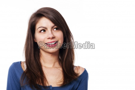 young smiling woman looking up