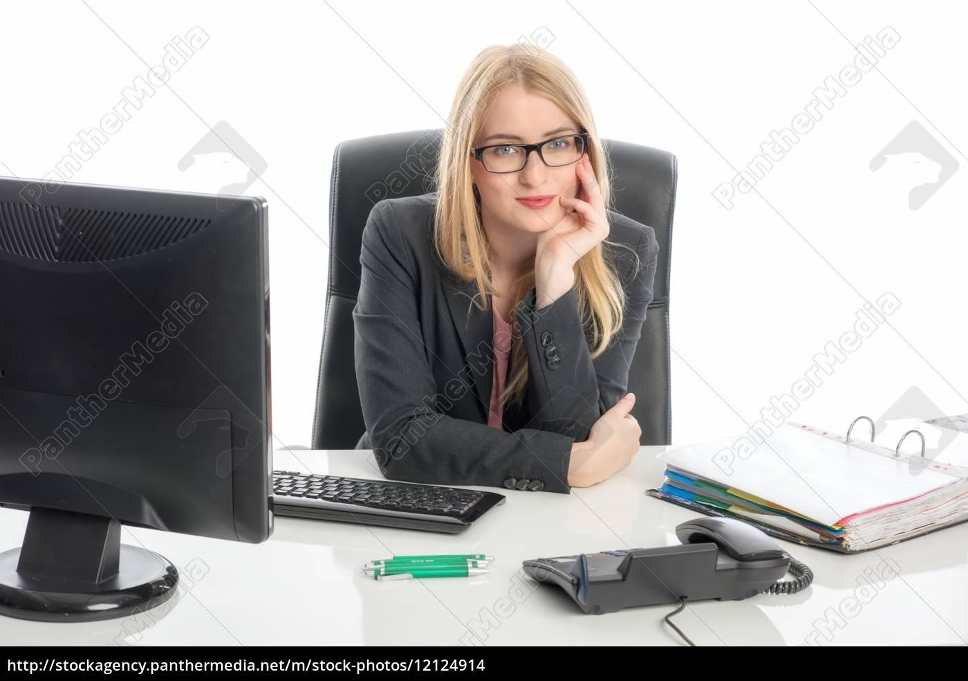 geschäftsfrau, am, schreibtisch, - 12124914