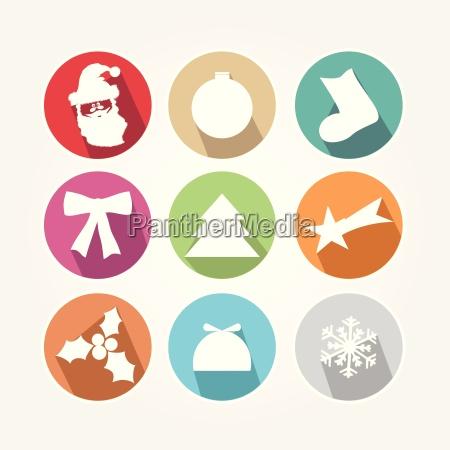 zestaw ikon swiatecznych z glownym obiektem