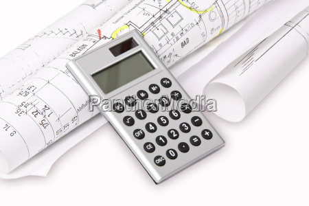 calculator with architects plan