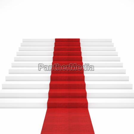 schody z czerwonego dywanu