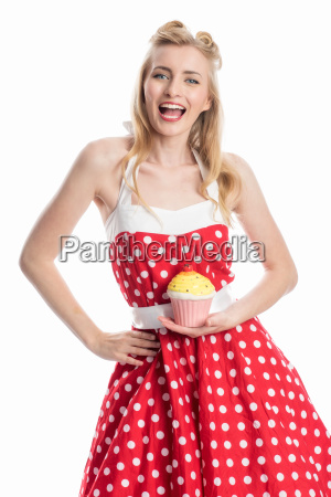 young woman with cupcake