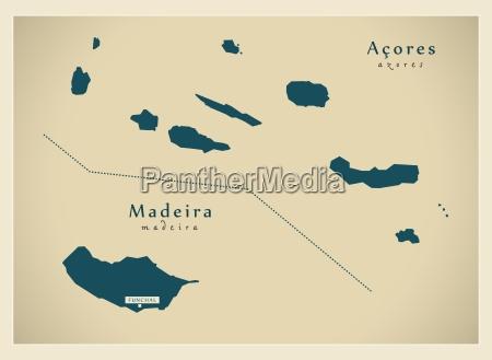 nowoczesna mapa acores madeira ilha pt