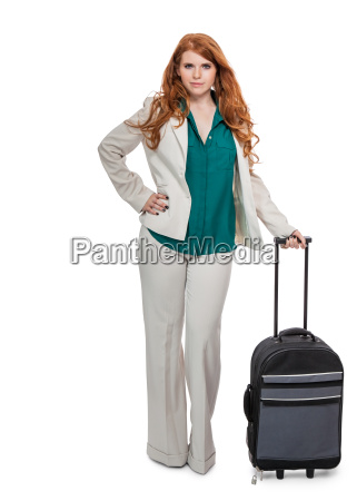 young attractive business woman with red