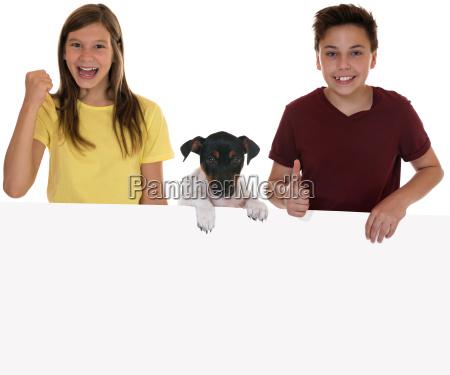 dzieci pies zwierzat banner tarcza plakat