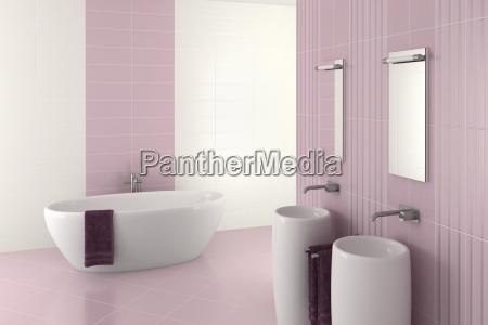 fioletowy nowoczesna lazienke z podwojna umywalka