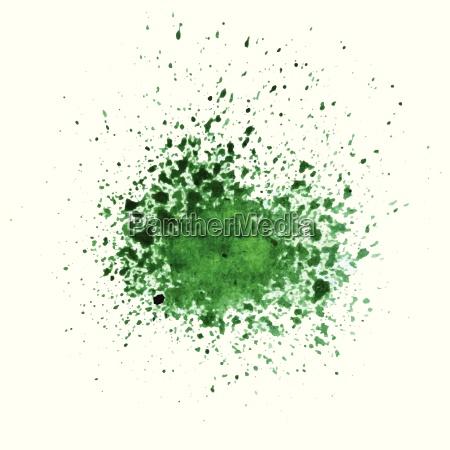 streszczenie zielone akwarela blot