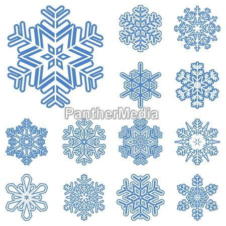zbior roznych niebieski platki sniegu