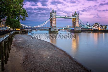 thames embankment and tower bridge at