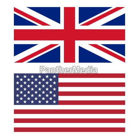 flaga wielkiej brytanii i stanow zjednoczonych