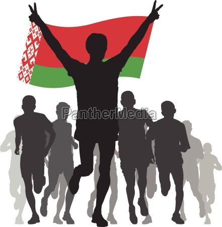 winner with the belarus flag at