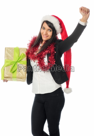 christmas girl holds a gift