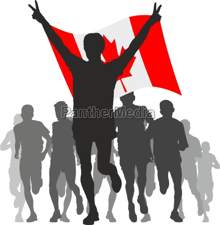 winner with the canada flag at