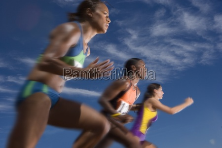 low angle view of female athletes