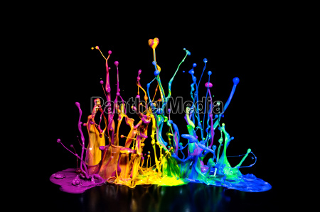 kolorowe farby splash na glosnik