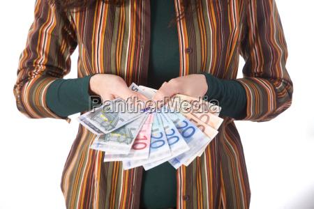 array of euro bills