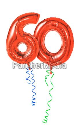 czerwone balony z prezentem na wstazce