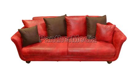 skorzana czerwona kanapa