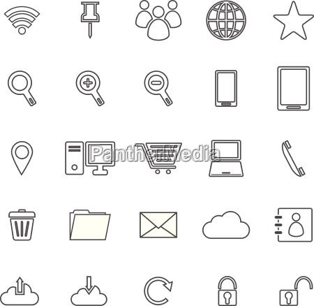 ikony linii internetu na bialym tle