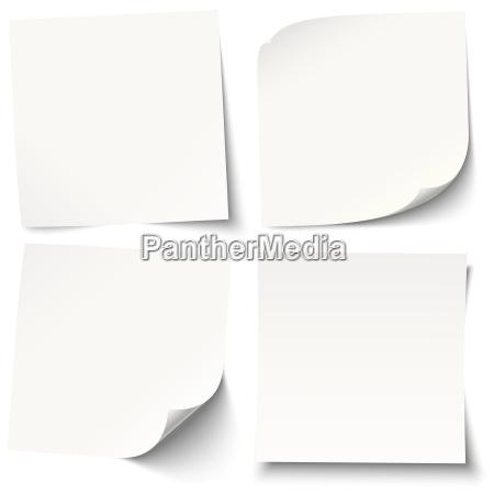 biale karteczki z roznymi cieniami