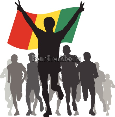 winner with the guinea flag at
