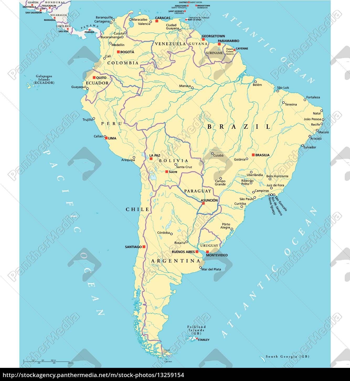 Ameryka Poludniowa Mapa Polityczna Stockphoto 13259154