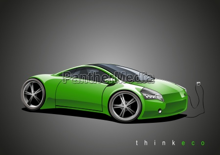 sports car green ecomobile